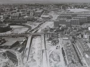Imágen de las obras de construcción de la archiconocida M-30
